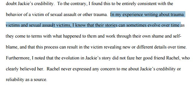 Erdely detects Jackie's contradictions--but explains them away as signs of trauma. Same problem as campus tribunals https://t.co/w1PQeIn09z