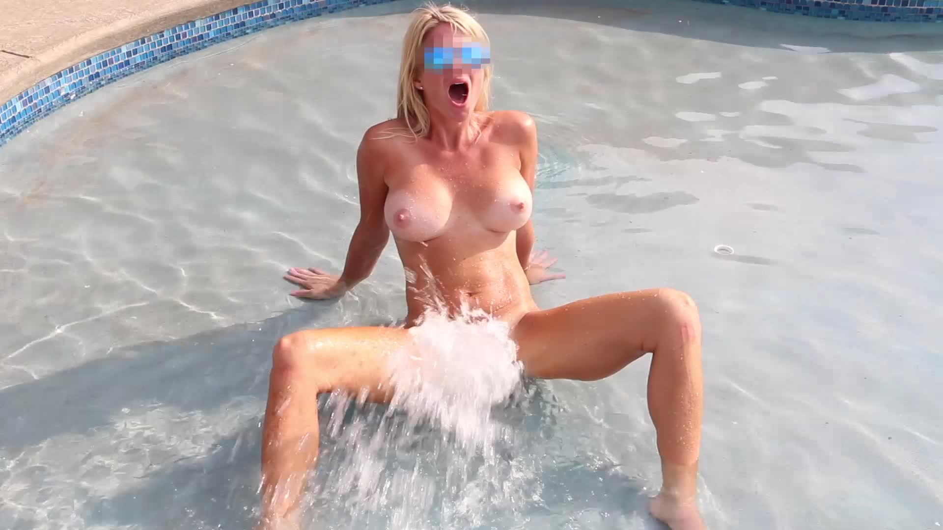 Male pool jet masturbation