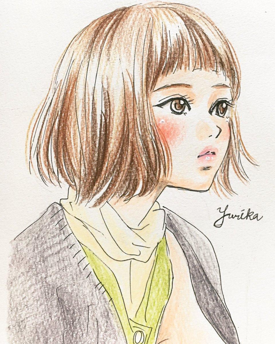 ユリカ A Twitter ヘアスタイルイラスト ヘアスタイル ヘア 女の子 男の子 美容 理容 色鉛筆 イラスト