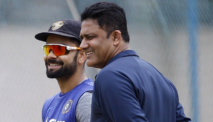 Virat Kohli training with Anil Kumble Indian Coach for India Tour of West Indies 2016