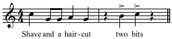 コメディーのオチなどで使用されるこのメロディー、「Shave and a Haircut」ということを初めて知りました。何十年もの心のつかえが取れた感じ。詳細はリンク先の記事を。 https://t.co/fiBQaWcfkz https://t.co/gjVPrPBgl6