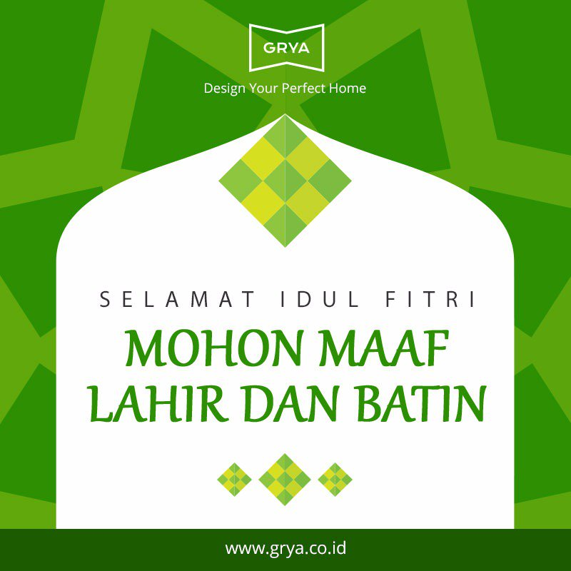 Grya mengucapkan: Selamat Idul Fitri 1437 H, Minal Aidin Walfaidizin, Mohon Maaf Lahir dan Batin :) https://t.co/QE7XmL6wsE
