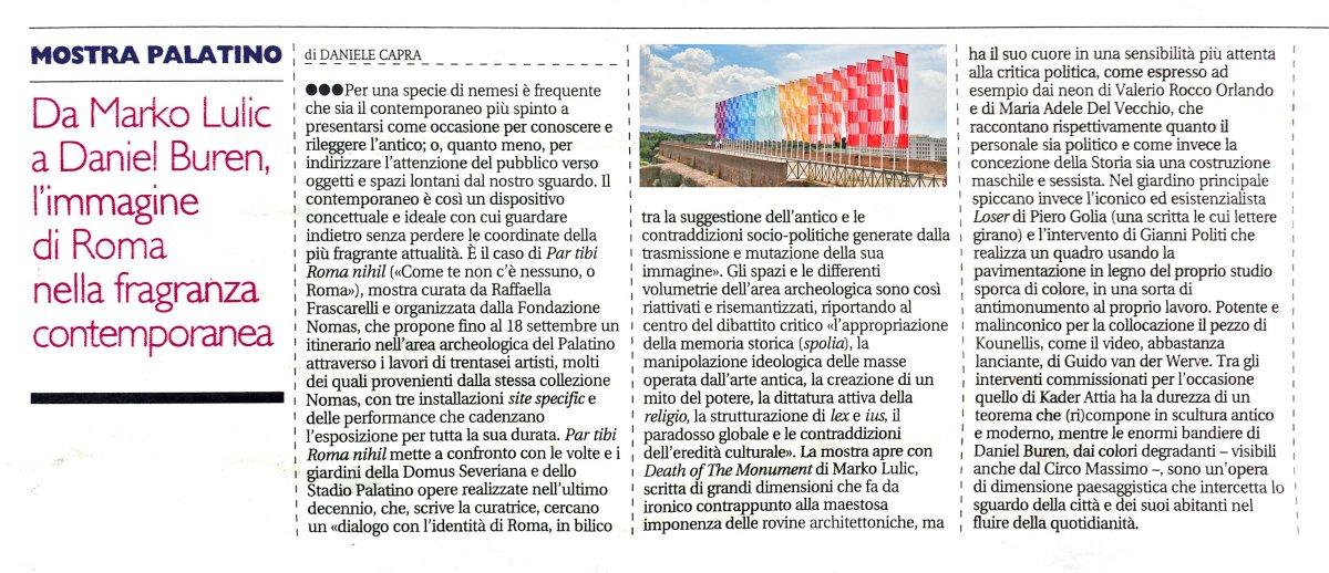 Il pepe del contemporaneo sulla classicità su @ilmanifesto mio pezzo su mostra @ParTibiRoma al #foropalatino