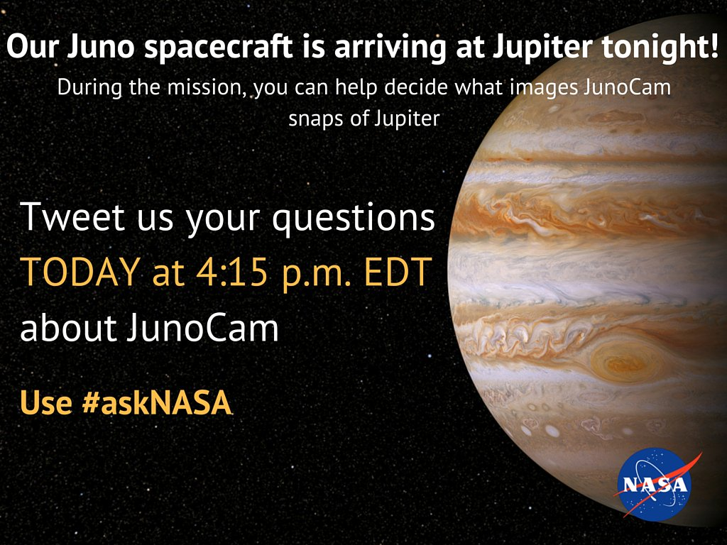 Our @NASAJuno spacecraft will take pics of #Jupiter with JunoCam. #askNASA about this instrument today at 4:15pm ET.