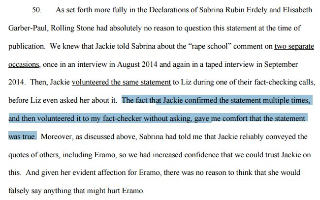 RS editor: Because Jackie gave the same (seemingly false) quote attributed to Eramo multiple times, was OK to use: https://t.co/AxbSse0Wur