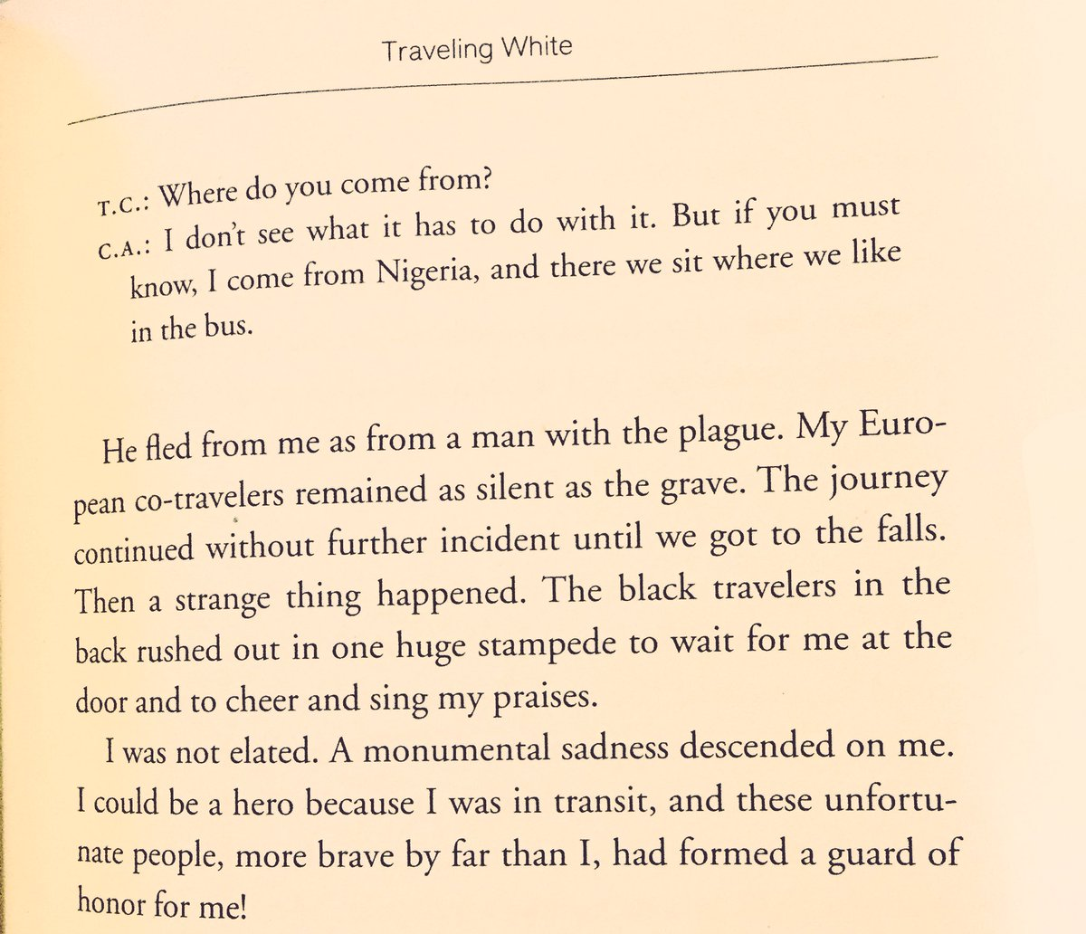 ayodele uche adiat nefrretiti twitter this from the essay traveling white by chinua achebe in which he boards a bus to victoria falls in oct 1960pic com gwmelxlj9e
