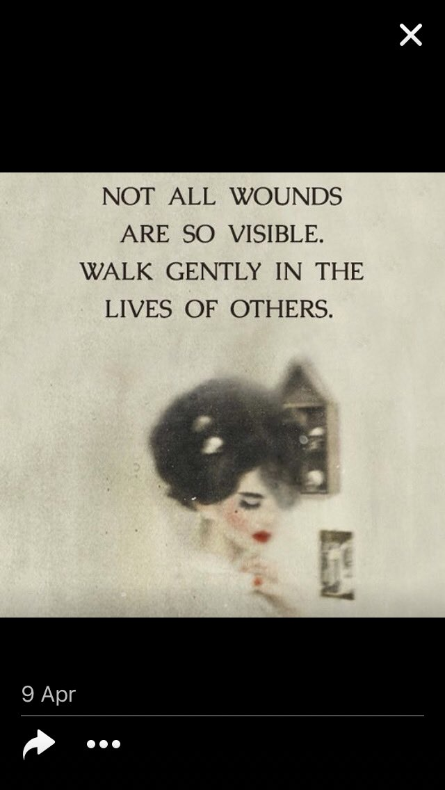 #csaqt Not all wounds are visible. Walk gently in the lives of others. https://t.co/eQqnIc9Q5f