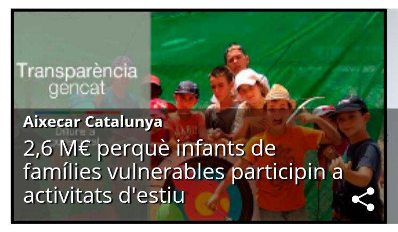Aixecar Catalunya - El Govern destina 2,6 milions d'euros perquè infants i joves de famílies vulnerables participin de les activitats d'estiu