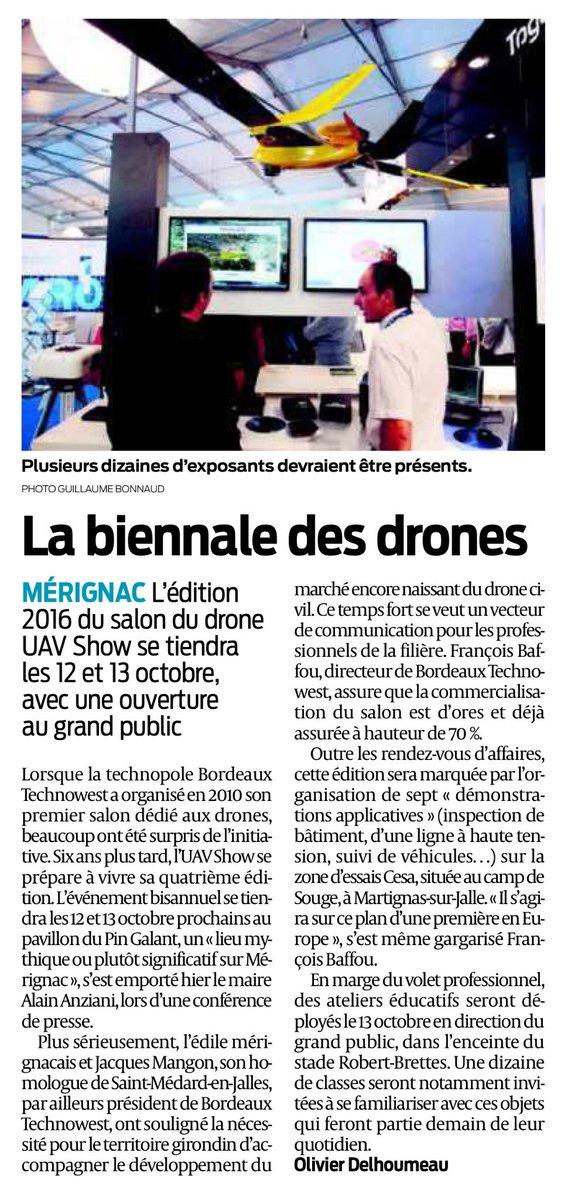 """Organisée par @Bdx_Technowest, la biennale des #drones proposera """"démonstrations applicatives"""": première en Europe"""