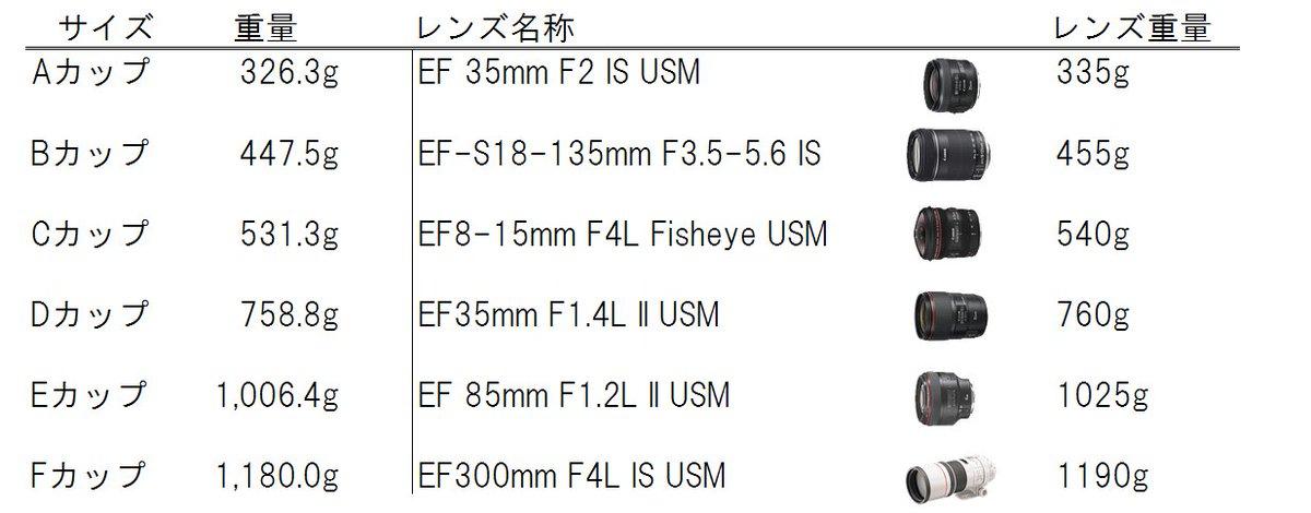 そしてキヤノンの純正レンズをおっぱいに例えて比較した表がこちらです。ご査収ください https://t.co/Zw0EU4Bvxs