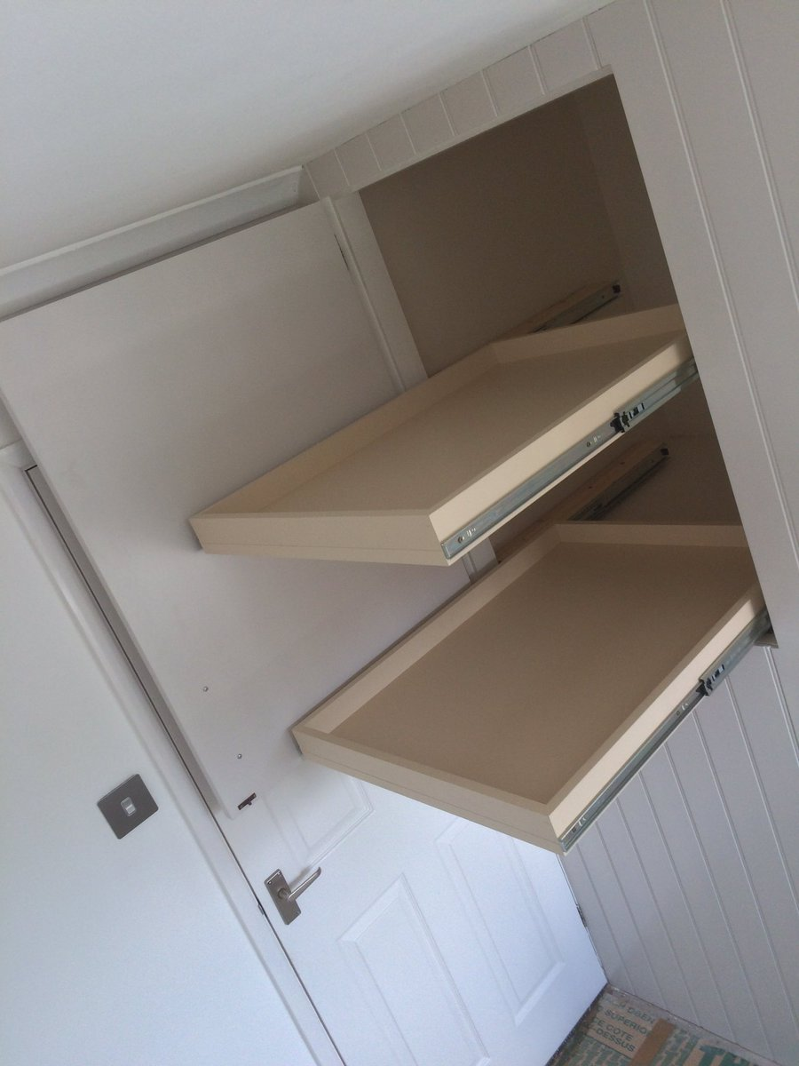 Warrington Cabinets On Twitter Fitted Wardrobe Incorporating Existing Stair Box T G Paneling And Large Pull Out Shelves To Optimise The Space