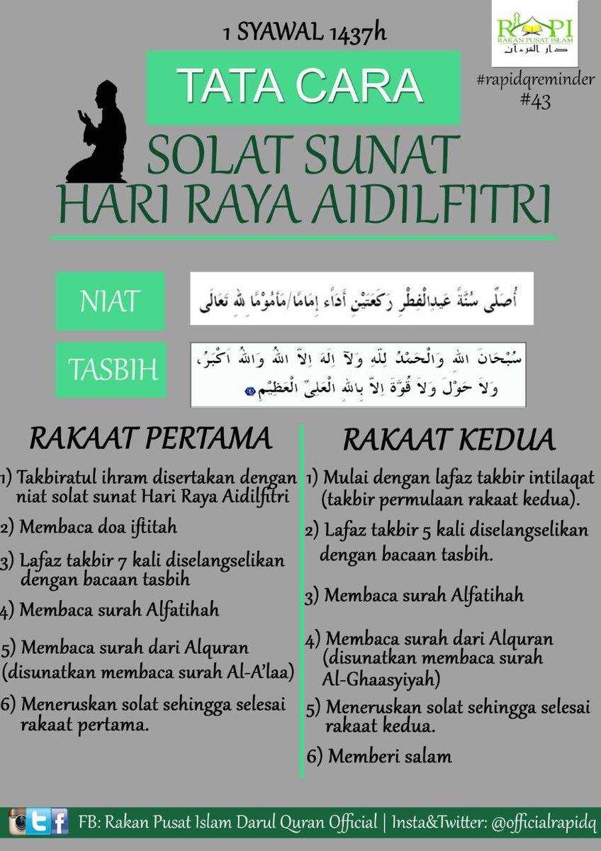 Rapi Darul Quran A Twitter Tata Cara Solat Sunat Hari Raya Aidilfitri Salamsyawalrapi Rapidqreminder 43 Publisitiinformasirapi