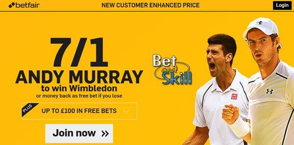 Wimbledon enhanced odds - Get 7/1 Andy Murray to win Wimbledon + £100 bonus at Betfair! Risk-free!