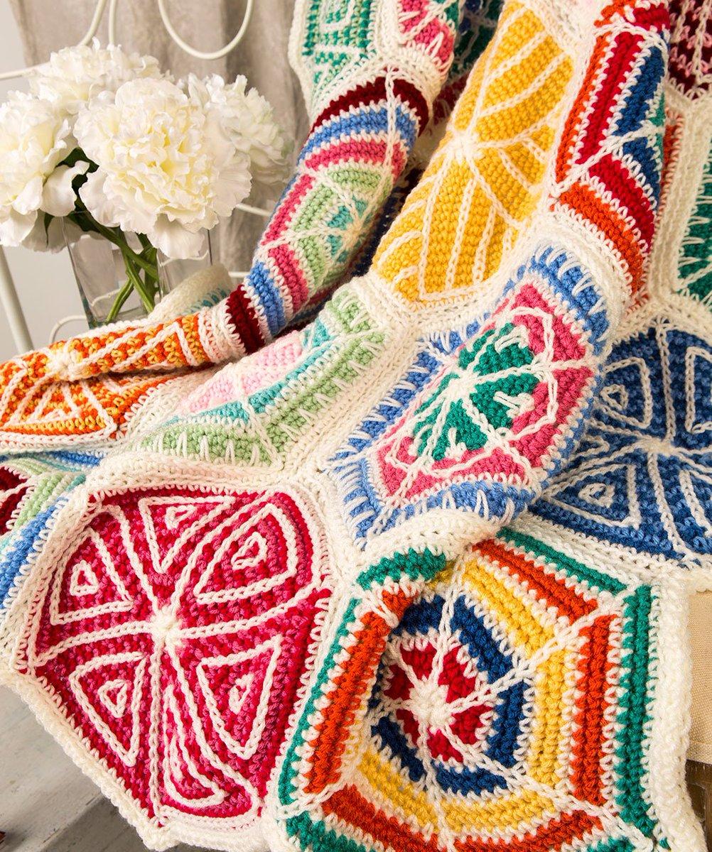 Red Heart Yarns On Twitter Mandala Sampler Throw Free Crochet