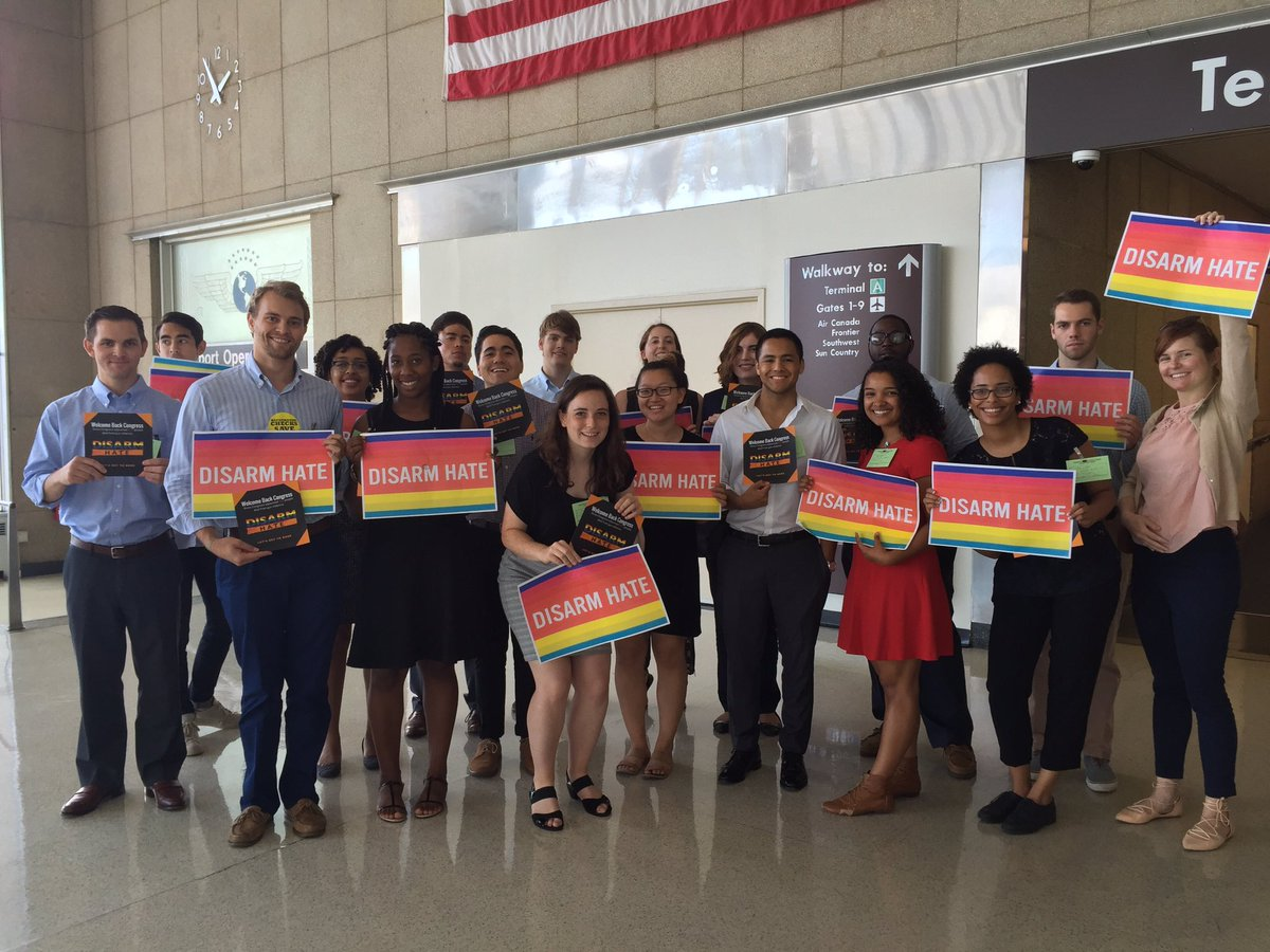 Team GP + @amprog is at @Reagan_Airport to greet Congress as they get back to D.C. — and demand they #DisarmHate! https://t.co/wKpF89I7te
