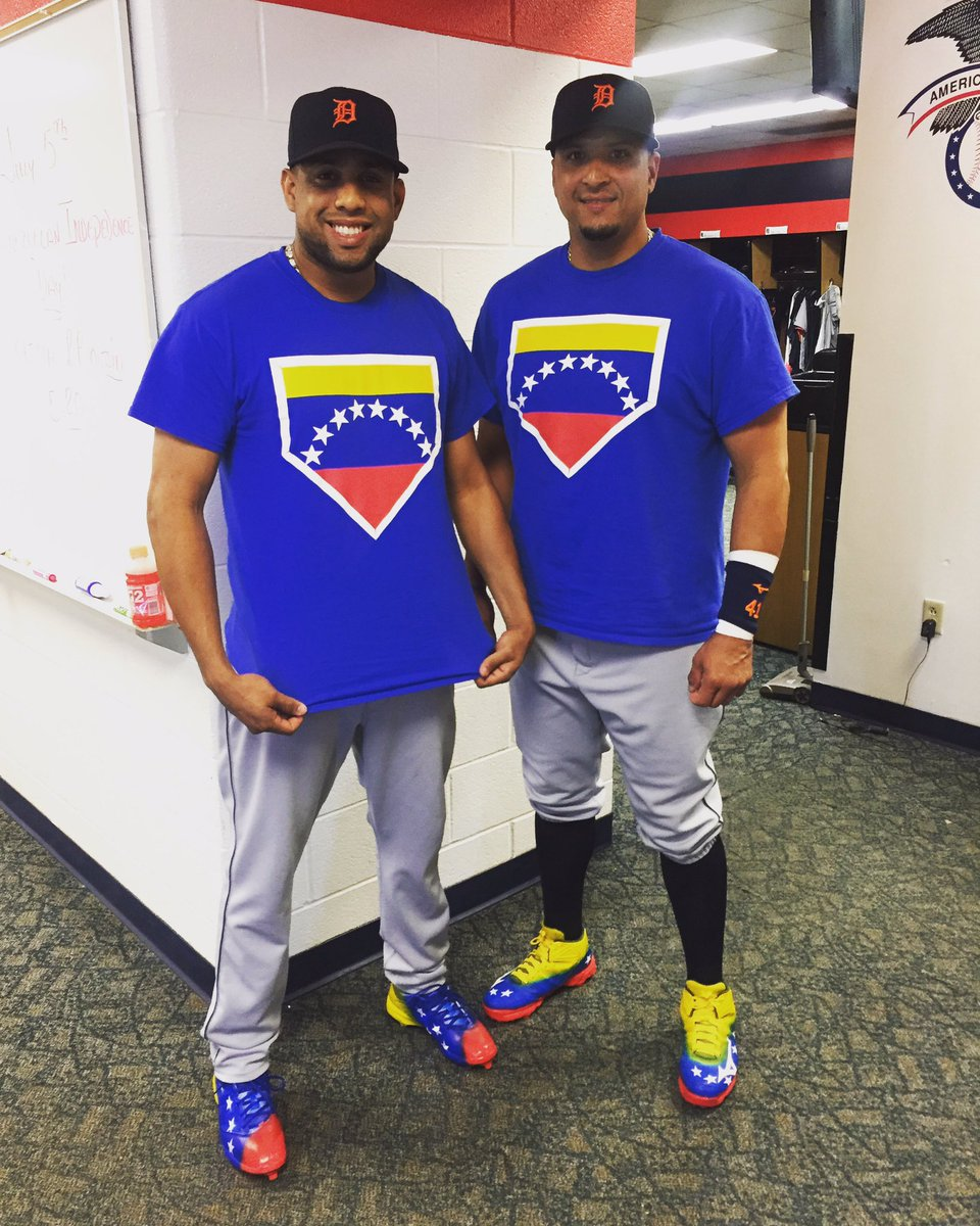 Francisco Rodriguez y Victor Martinez en los colores de su país para el Día de Independencia de Venezuela.