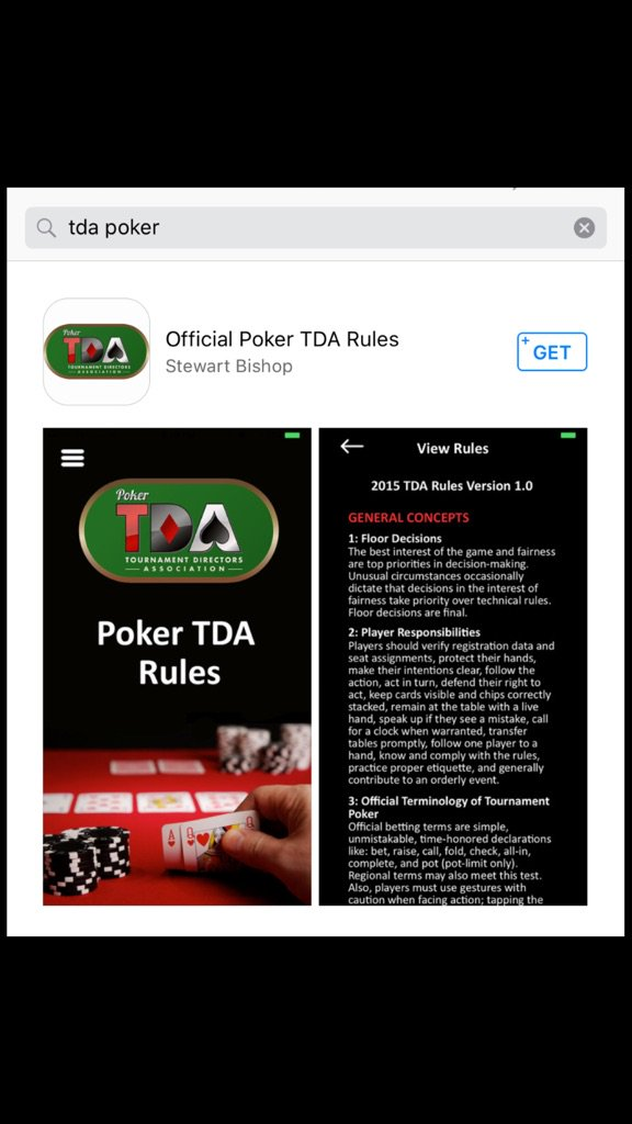 """FREE @PokerTDA app now available in Apple Store, search """"TDA Poker."""" Tournament Rules and TDA Information. Please RT https://t.co/ZlbdsWLHs5"""
