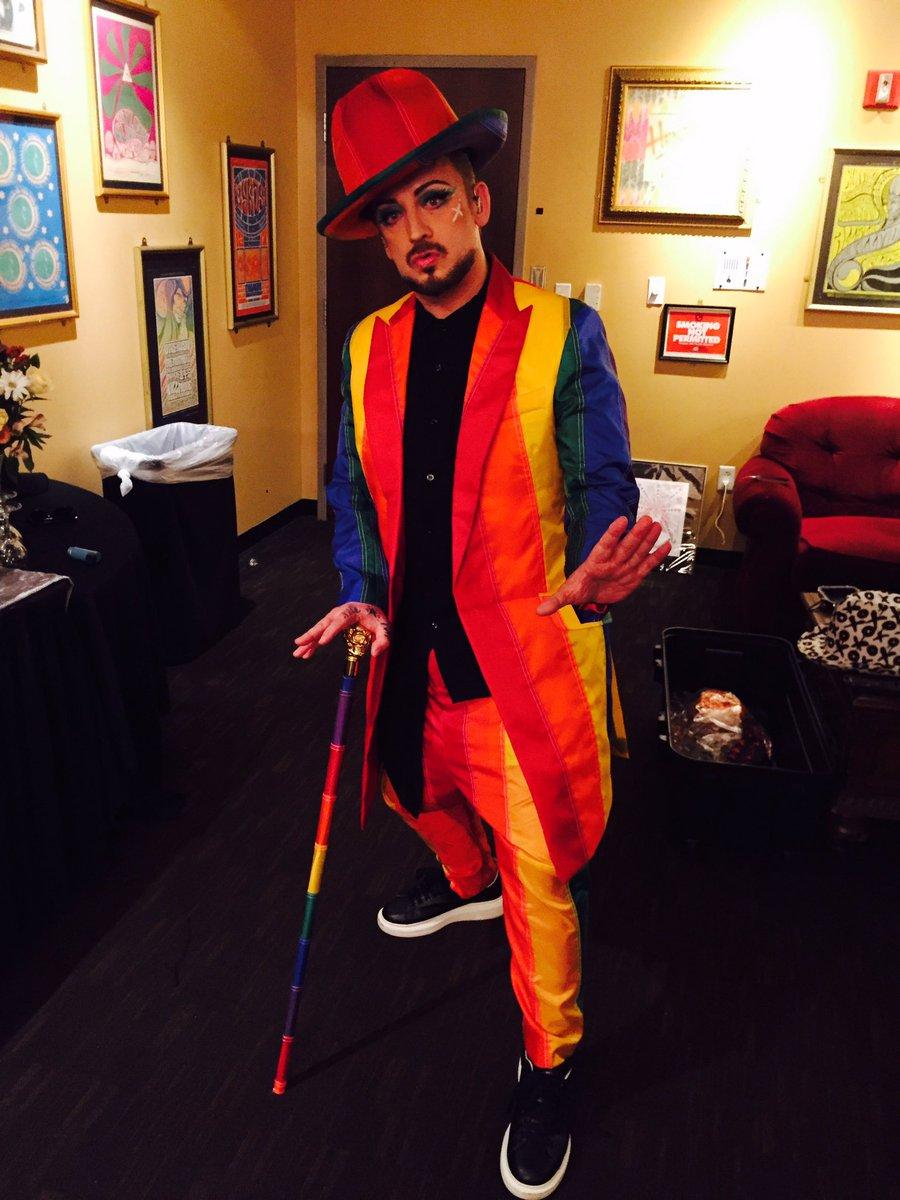 Styled - @BoyGeorge - Rainbow warrior in Orlando! #OrlandoLove #OrlandoStrong https://t.co/6YteWRa4GJ