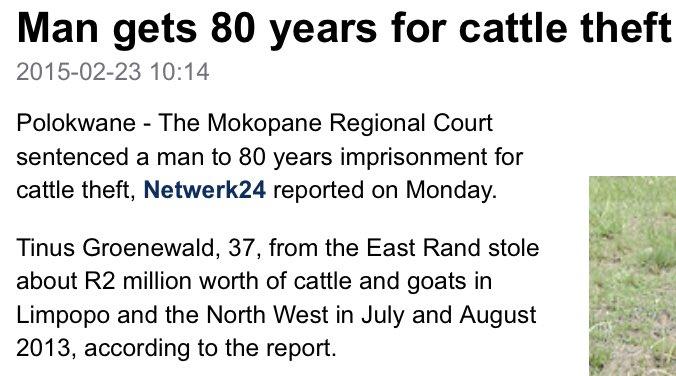 Man steals cattle  Sentence: 80 years  Man kills woman  Sentence: 6 years  WTF  #OscarPistorius #ReevaSteenkamp https://t.co/PZKakrgOce