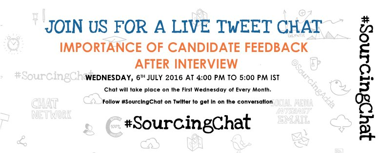 """Join #SourcingChat today @4PM on """"Importance of Candidate feedback after interview"""" https://t.co/AEbhS0lF7B #HR https://t.co/Rjh62338JO"""