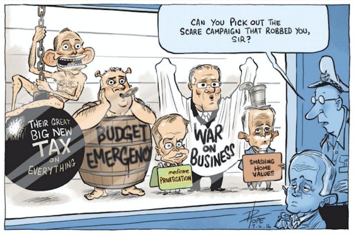 """""""CAN YOU PICK OUT THE SCARE CAMPAIGN THAT ROBBED YOU, SIR?"""" @davpope @canberratimes https://t.co/BHCDPsjUWz https://t.co/rbr5cvAALi"""