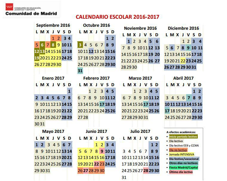Calendario Academico Madrid.Villa De Ajalvir On Twitter Calendario Escolar 2016 2017 Madrid