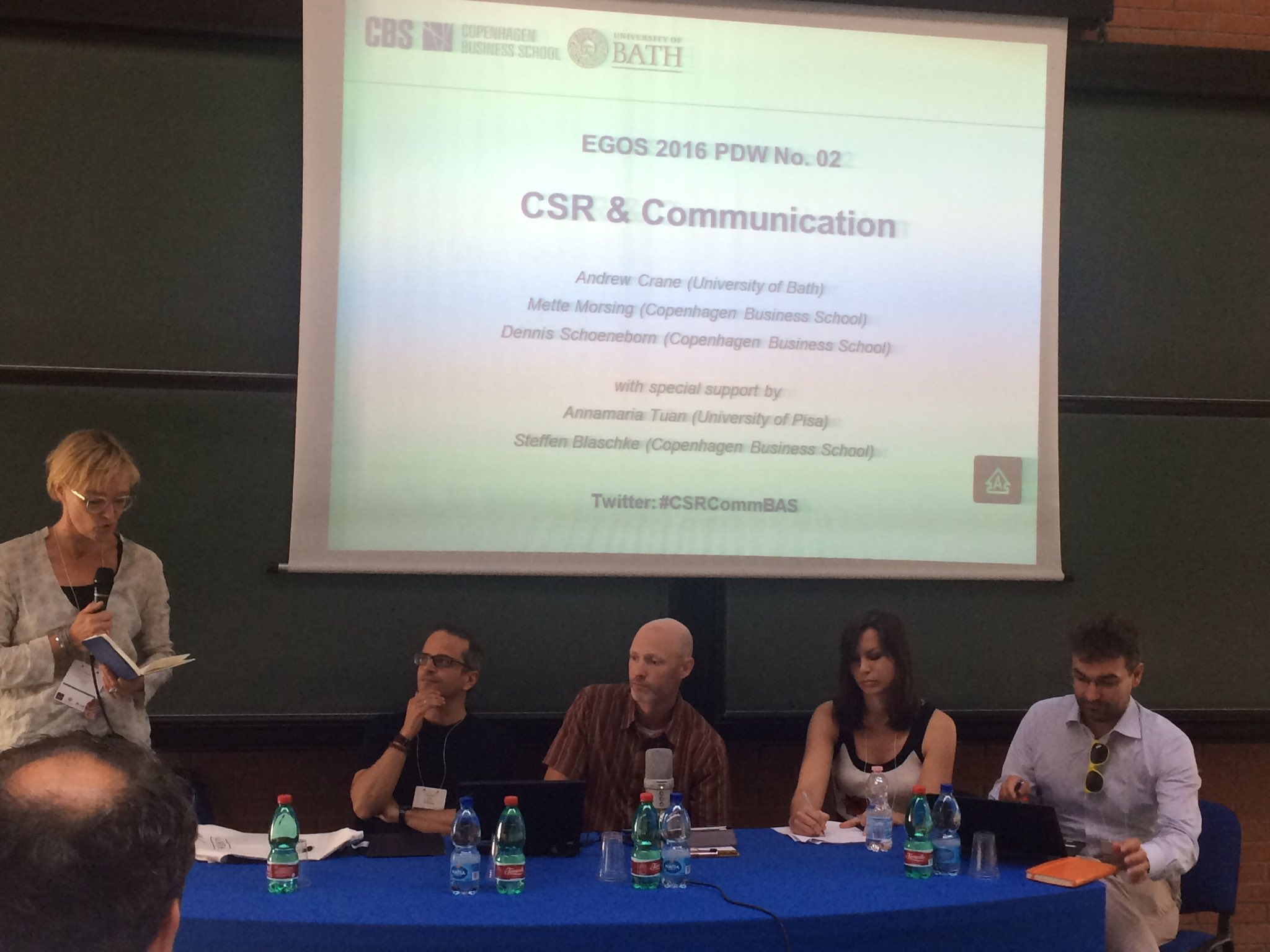 Panel session with great CSR scholars: J Costas, JP Gond, T Kuhn, Guido Palazzo, Mette Morsing #CSRCommBAS https://t.co/zdAXUUEti6