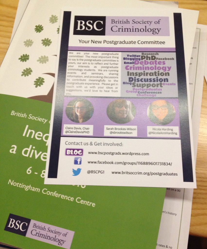 New @BritSocCrim PG committee at #BSCConf16 Thanks to @NicolaAHarding for great work on flyer https://t.co/57IFipas5w