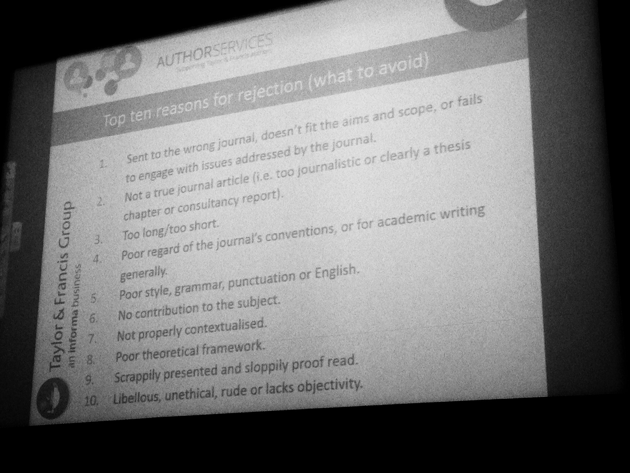 Top ten reasons for journal article rejection... Jacquelyn @Routledge_Crim @crim_editor @BSCPG1 #BSCConf16 https://t.co/BEwZncMlj7