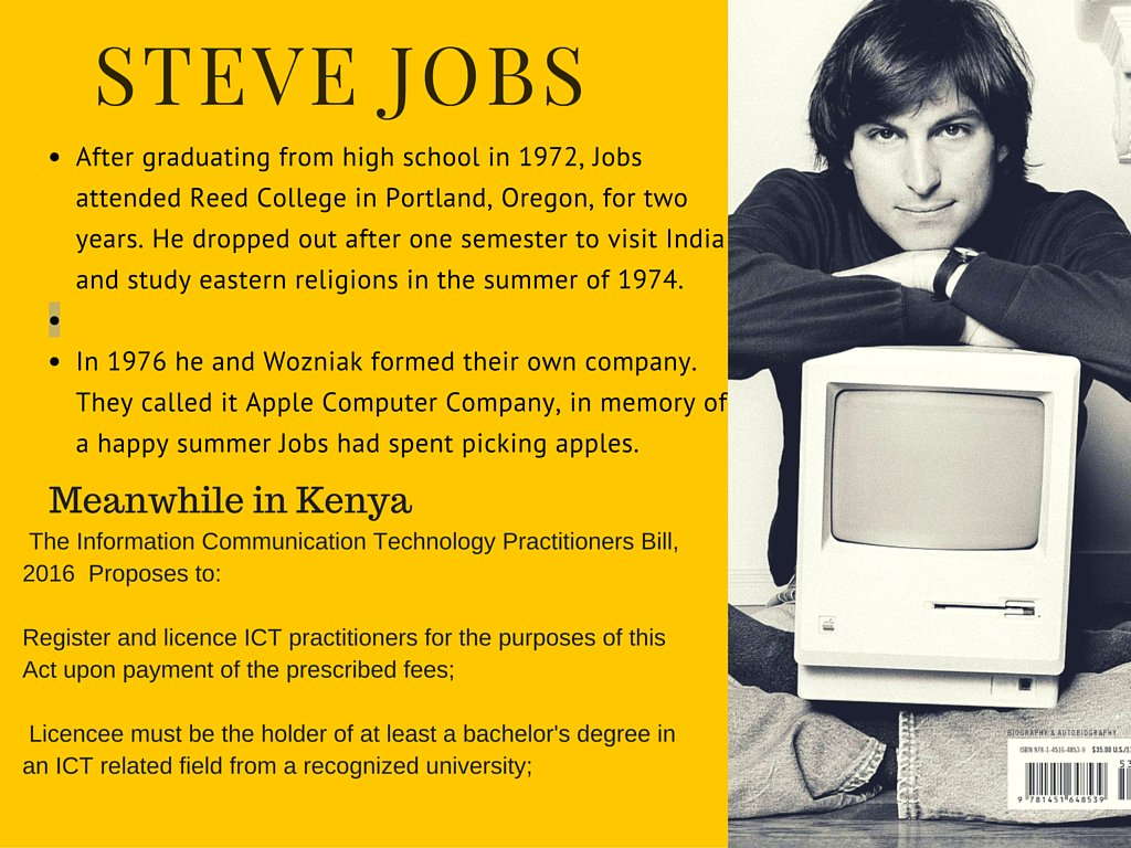Apple's founder would not be fit to start an ICT venture in Kenya - according to the proposed laws.  #KillTheICTBill https://t.co/ie8PqQSInl