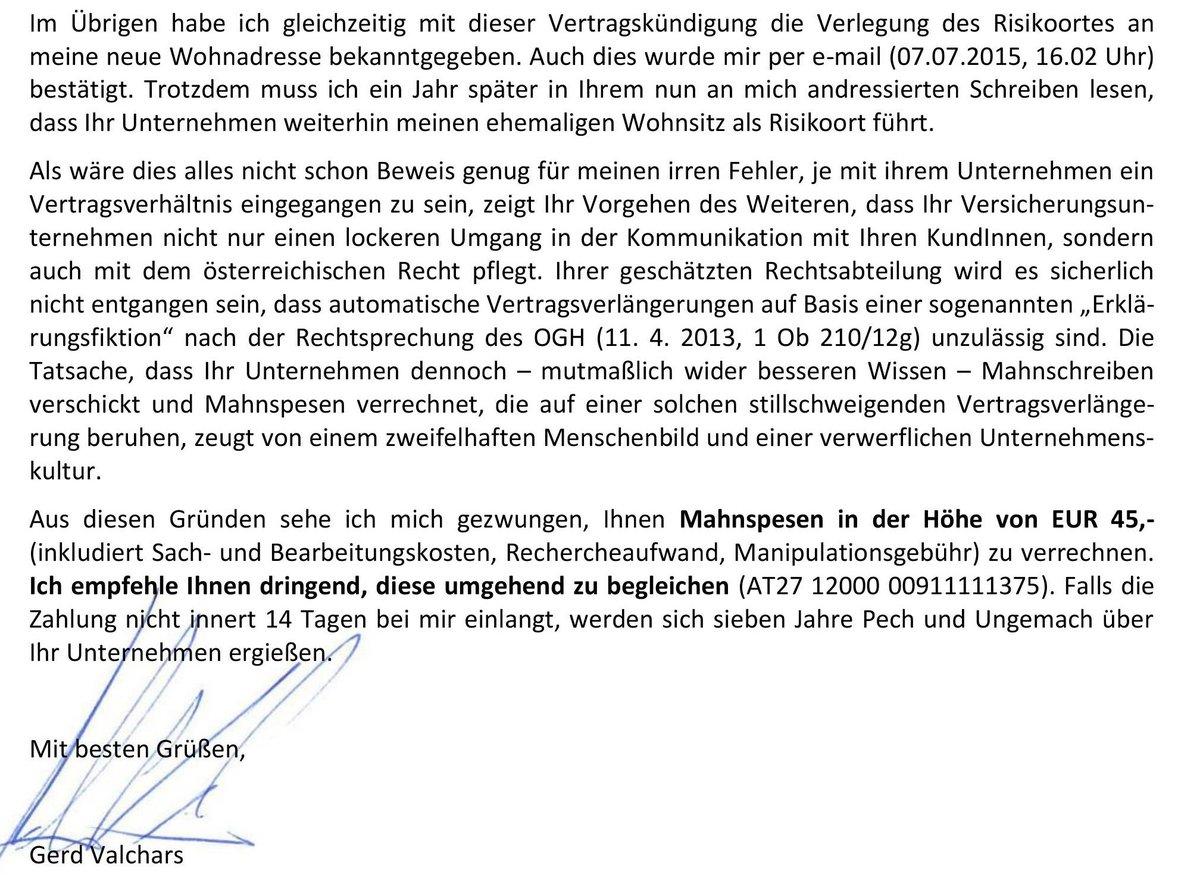 Gerd Valchars On Twitter Ich Musste Meiner Ehemalige Versicherung
