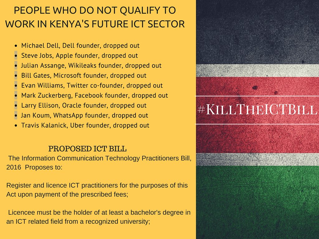 If the proposed laws were passed. Guess who wouldn't make the cut in Kenya. #KillTheICTBill https://t.co/iqJWuEQkCp
