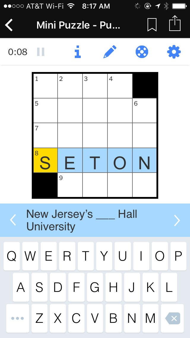 Shout out to the #NYTNow app for the @SetonHall shout out in today's mini-crossword @NYTNow https://t.co/wm6GQTpyfR