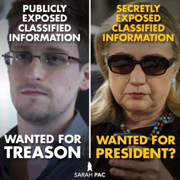 What say you, @FBI   Snowden: Traitor Hillary: Patriot   Both broke laws ✔️ Both breached National Security ✔️ https://t.co/P6FNYNSj4m