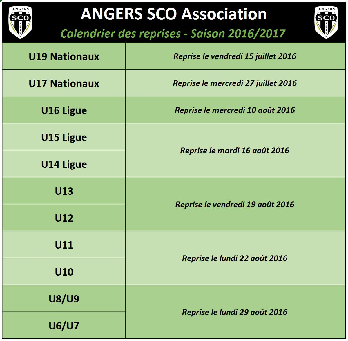 Sco Angers Calendrier.Angers Sco Asso On Twitter Voici Le Calendrier Des