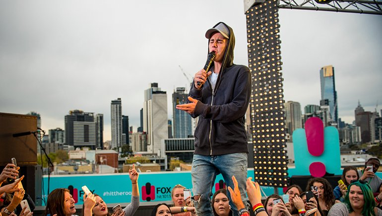 Onair now @justinbieber #WhatDoYouMean on #2DayFM live from our World Famous Rooftop @EllieAngel  #JustinBieber