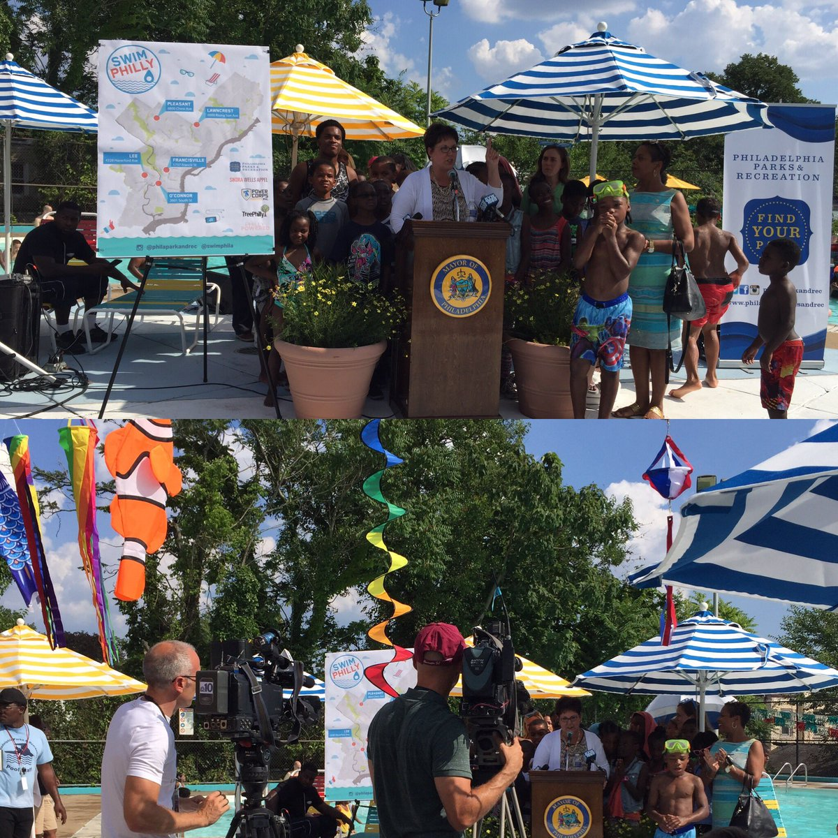 .@PhilaParkandRec Commish KOL officially kicksoff #SwimPhilly at Pleasant playground in Mt Airy #poolweather <br>http://pic.twitter.com/gpdbS0XBV5