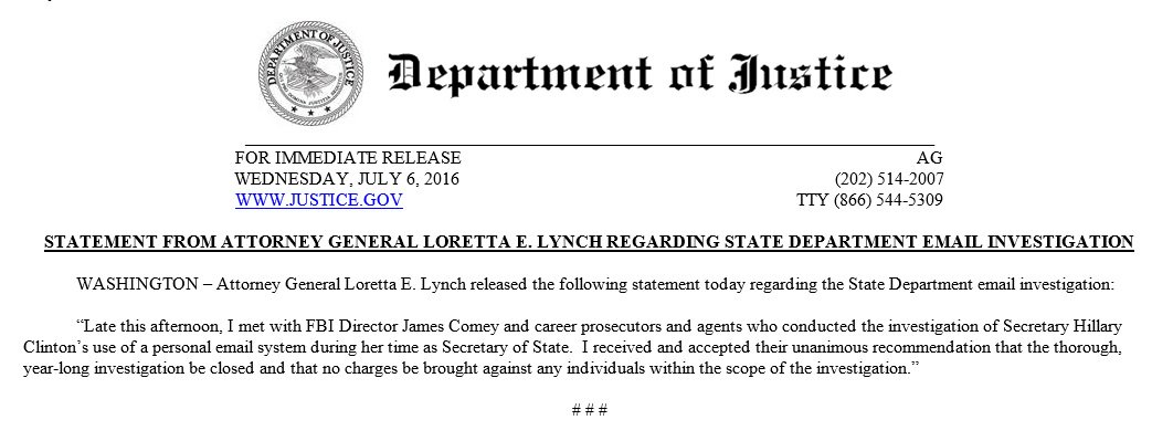 Attorney General Lynch closes investigation into @HillaryClinton email case and says there will not be any charges. https://t.co/Ibds5pbDGV