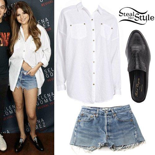 Steal Her Style On Twitter Selena Gomez White Shirt Denim Shorts