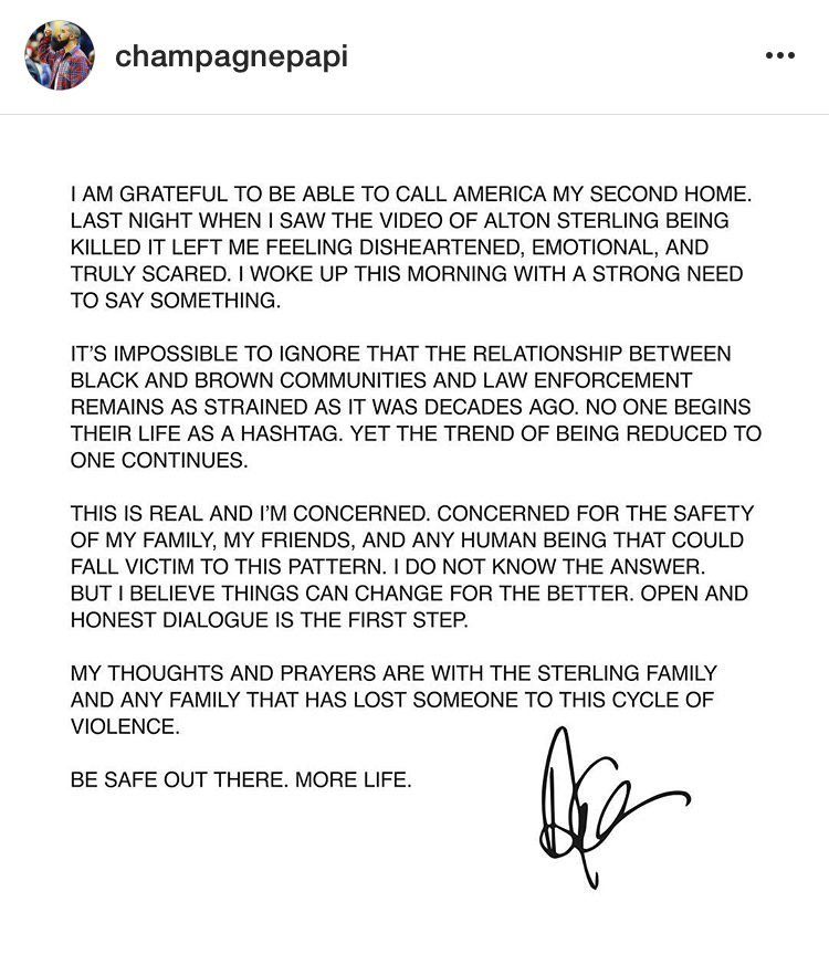 .@Drake's open letter/message. #AltonSterling https://t.co/M8IDYguP60
