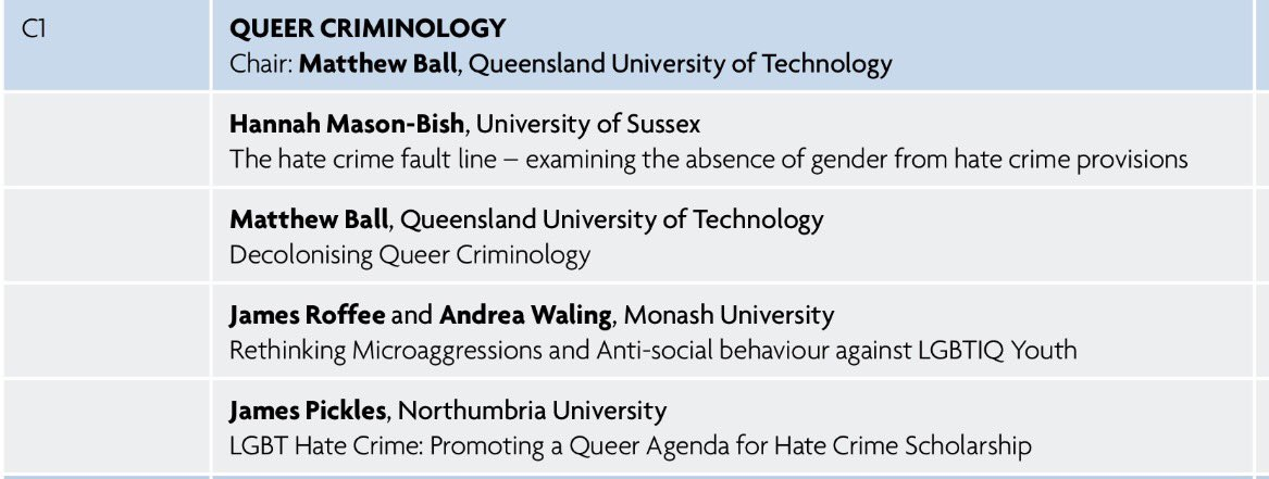 Looking forward to attending the panel on 'Queer Criminology' at @BritSocCrim #BSCConf16 https://t.co/RvByypAGNz