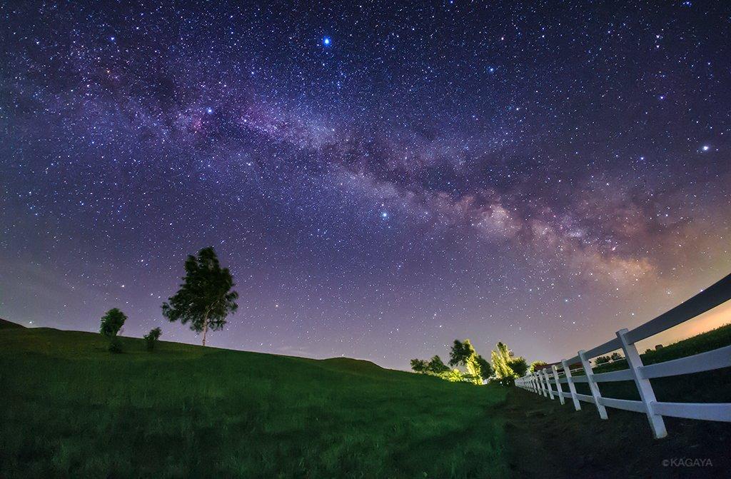 先ほど撮影した七夕の天の川です。 写真中央の星が彦星。写真上の明るい星が織姫星です。 その間を横に流れる白い帯が天の川。 満天の星を求めて北海道までやってきました。 (北海道美瑛町にて) https://t.co/Wqc5KCkTo4