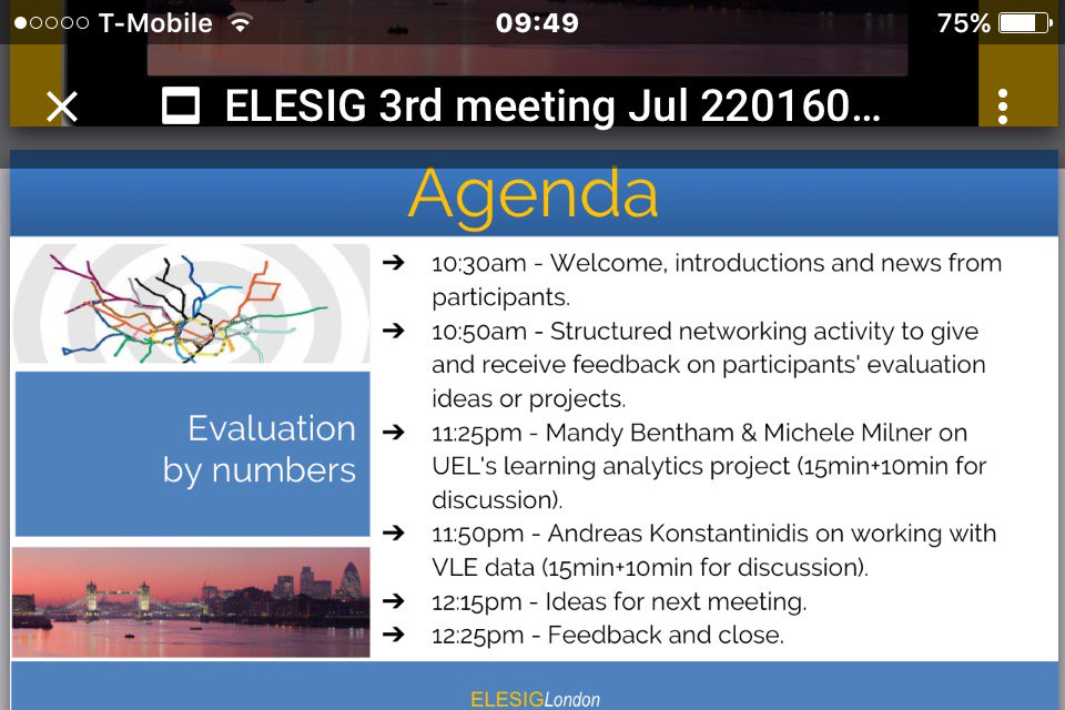 Our agenda this morning #elesig London https://t.co/JBN1v3PdYS