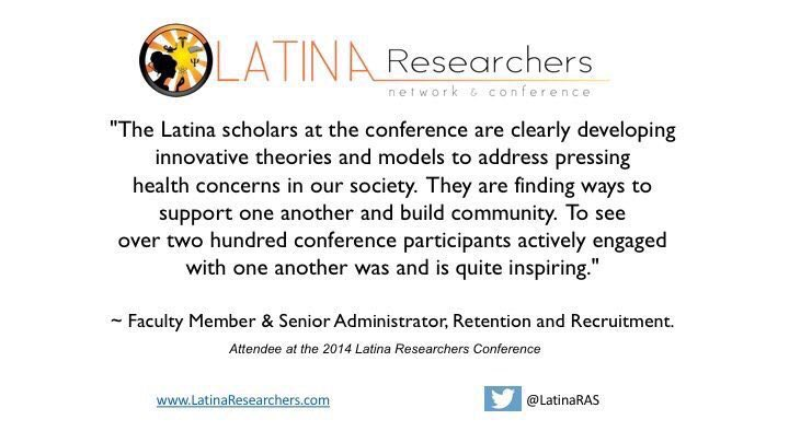 2014 Latina Researcher Conference. What attendees had to say. Join us in San Antonio 7/14-1… https://t.co/yk5ZsaPGSU https://t.co/Y0hwiPRSW3