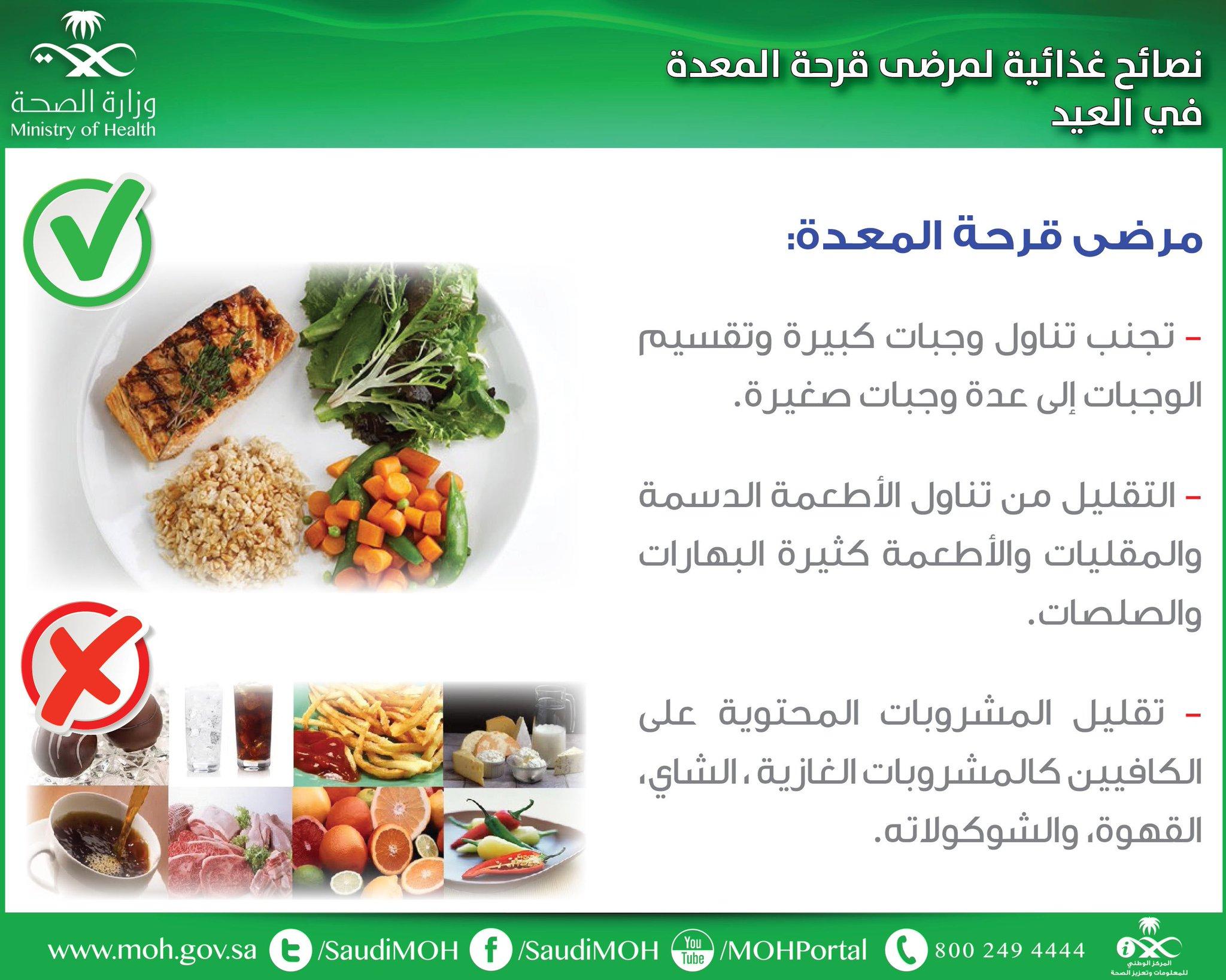 و ز ا ر ة ا لـ صـ حـ ة السعودية Di Twitter نصائح غذائية لمرضى قرحة المعدة في العيد صحة توعية علاج وقاية