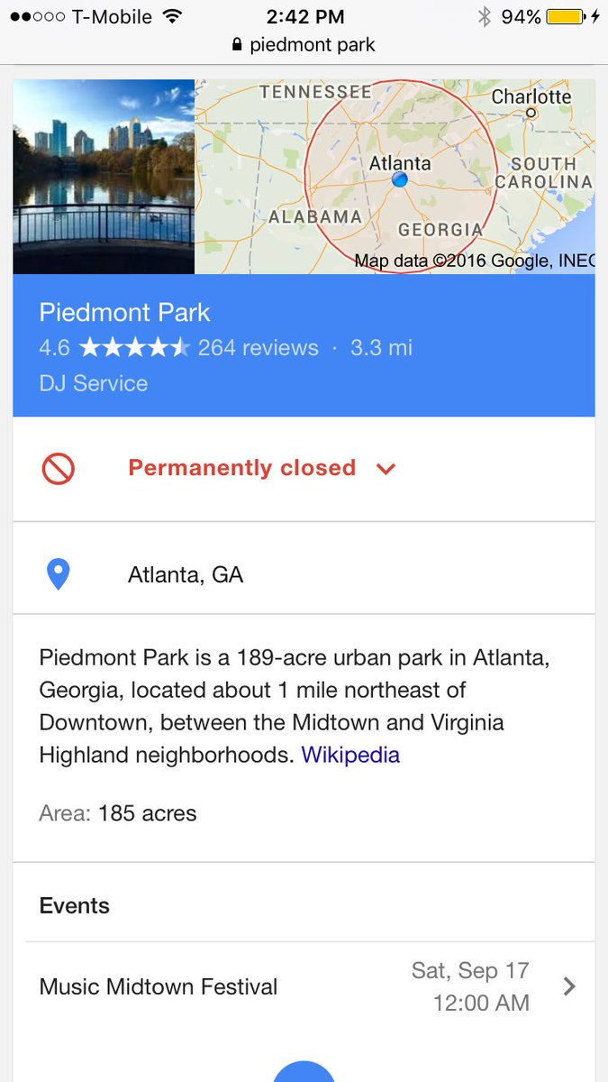 Damn Piedmont Park in now Permanently closed https://t.co/lUHpa6ZhAi