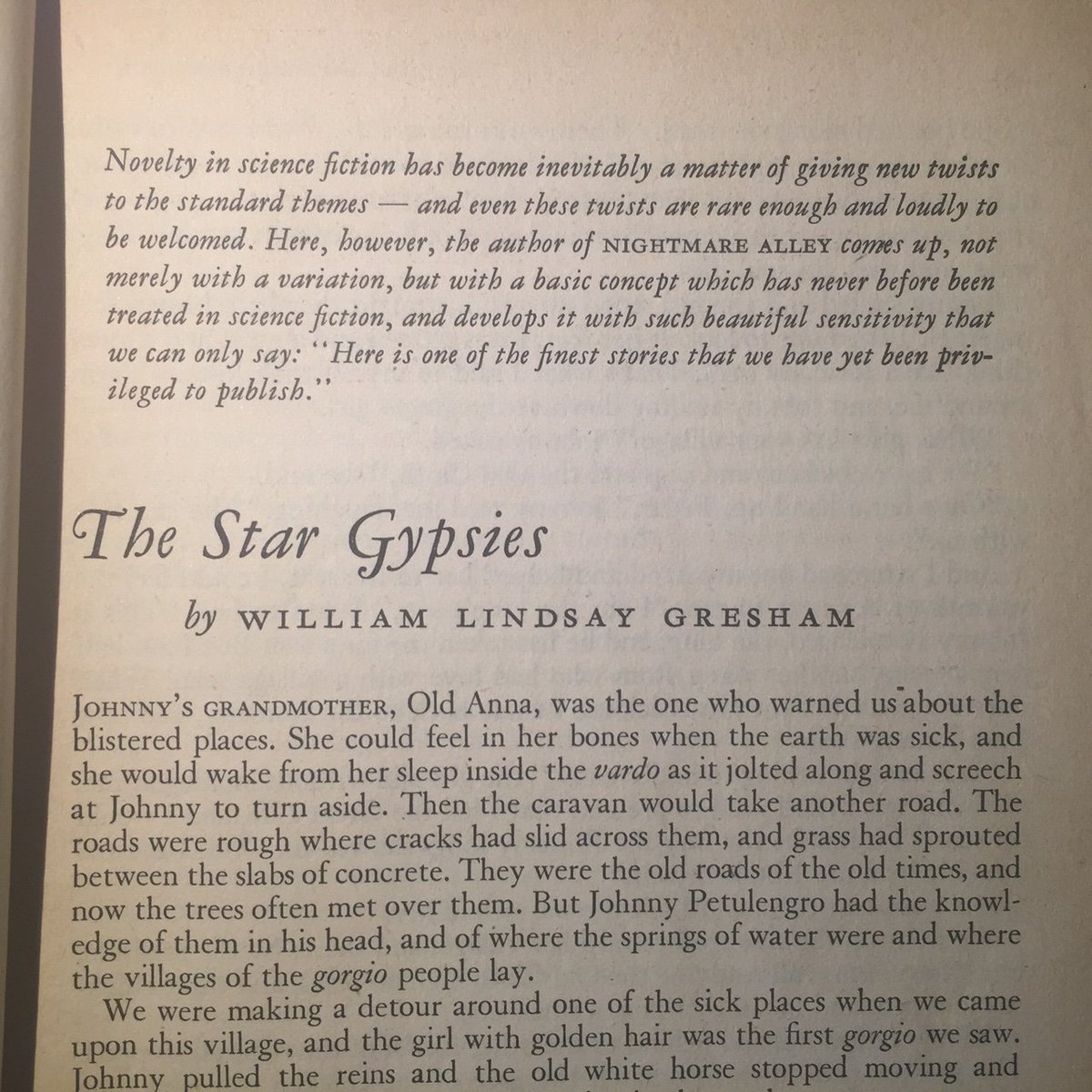 Introduction to The Star Gypsies from F&SF July 1953