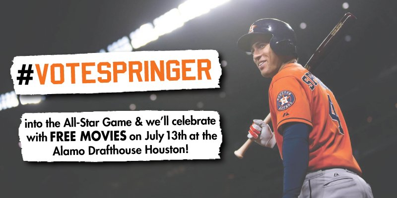 George Springer + All-Star = FREE MOVIES on 7/13!  More info: https://t.co/kOj3UVNfHA #VoteSpringer @astros https://t.co/XsXuwkNrOz