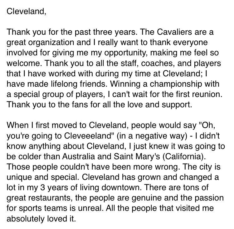 Matthew Dellavedova On Twitter Cleveland
