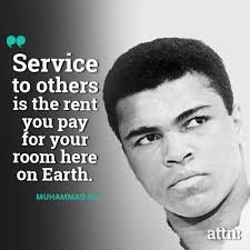 #Service to others is the rent you pay for your room here on #Earth. #WisdomWednesday #MuhammadAli #goodmorning https://t.co/GdH0PSSxMM